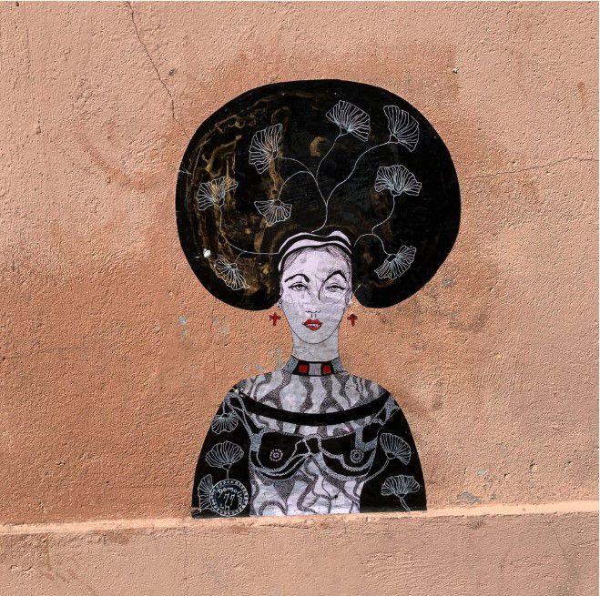 Collage de la street-artiste et peintre Demoiselle MM alias Mariane Mazel