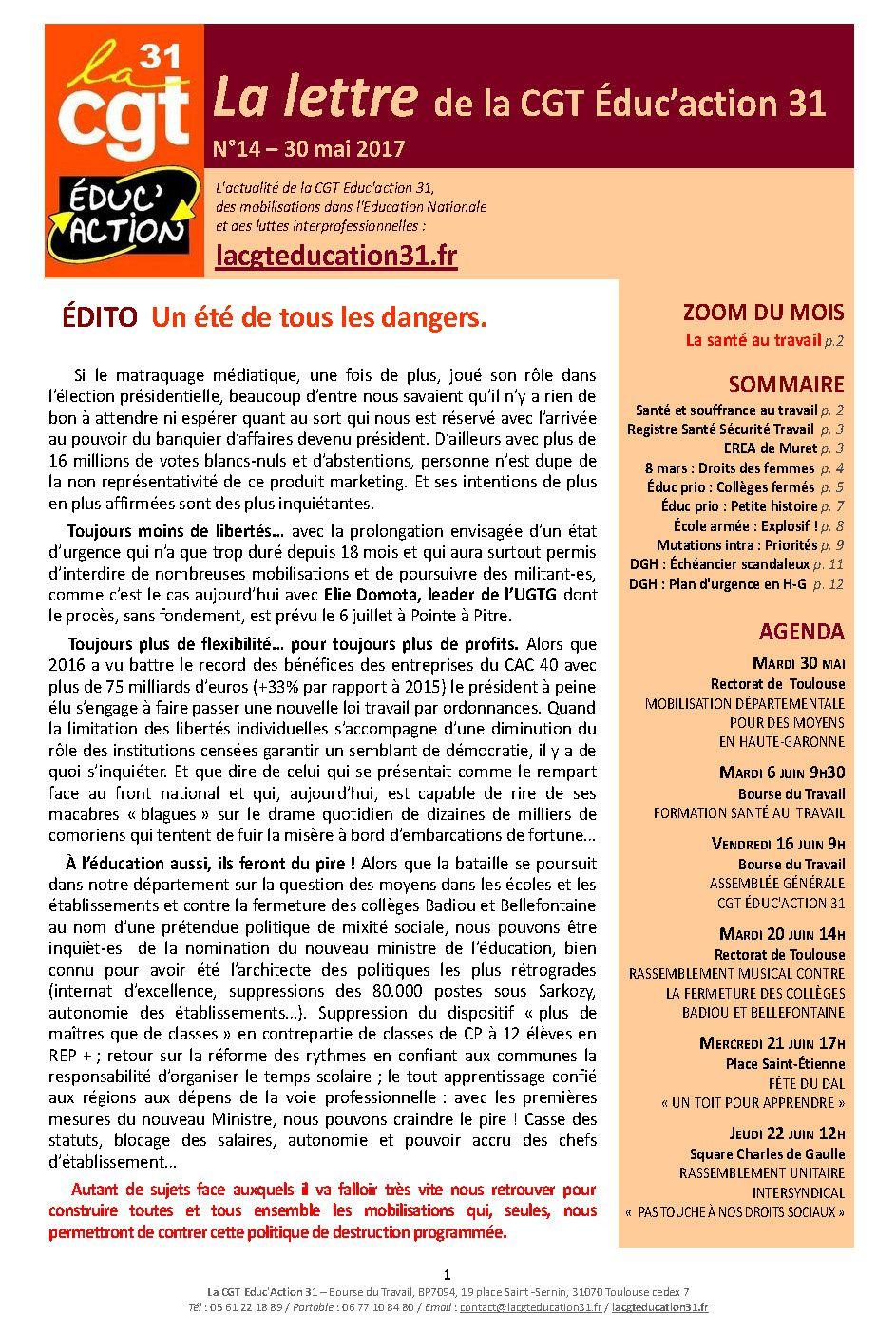 # La Lettre n°14 de la CGT Educ'action 31.