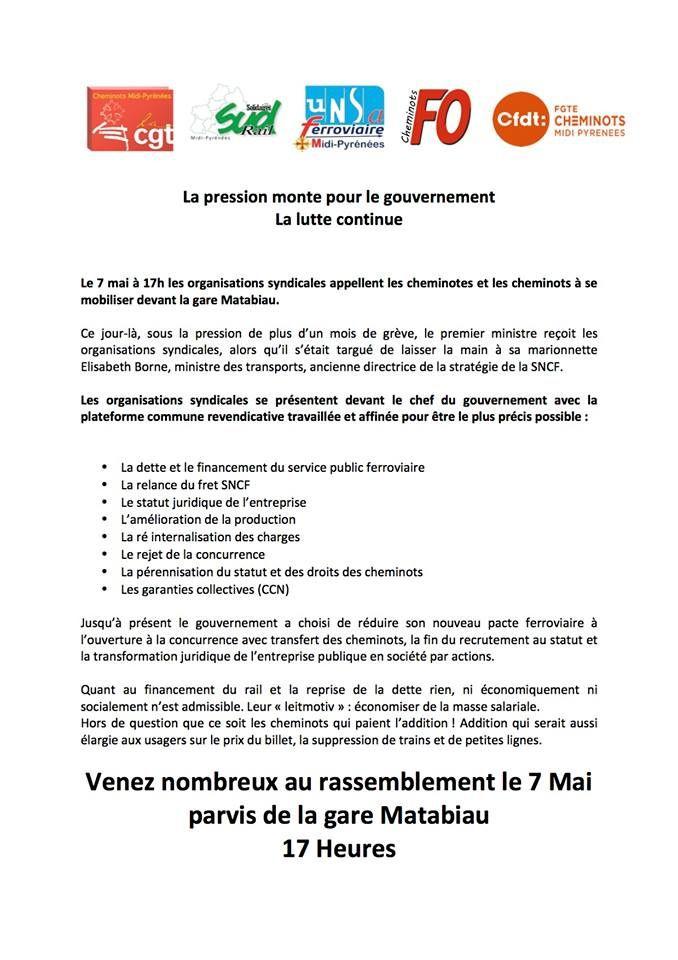 Lundi soir 7 mai : soutenons les cheminot·es devant la Gare Matabiau !