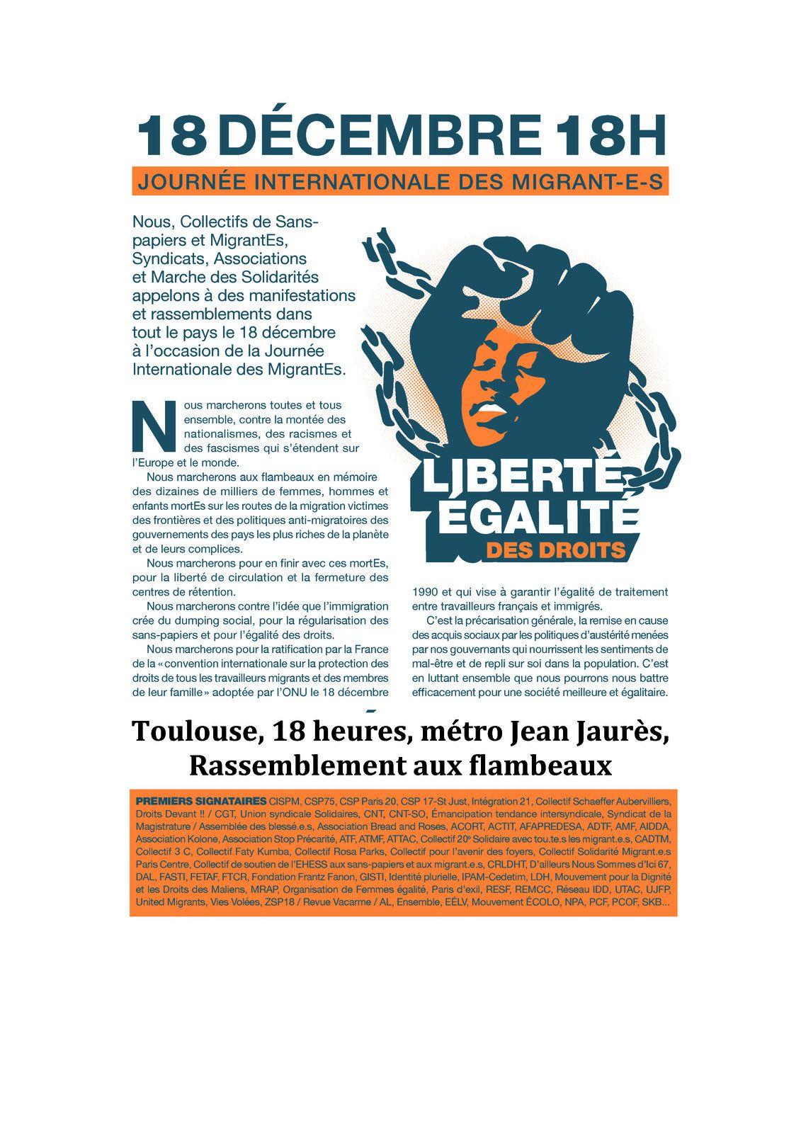18 décembre 18h Retraite aux flambeaux pour la Journée internationale des migrant·es