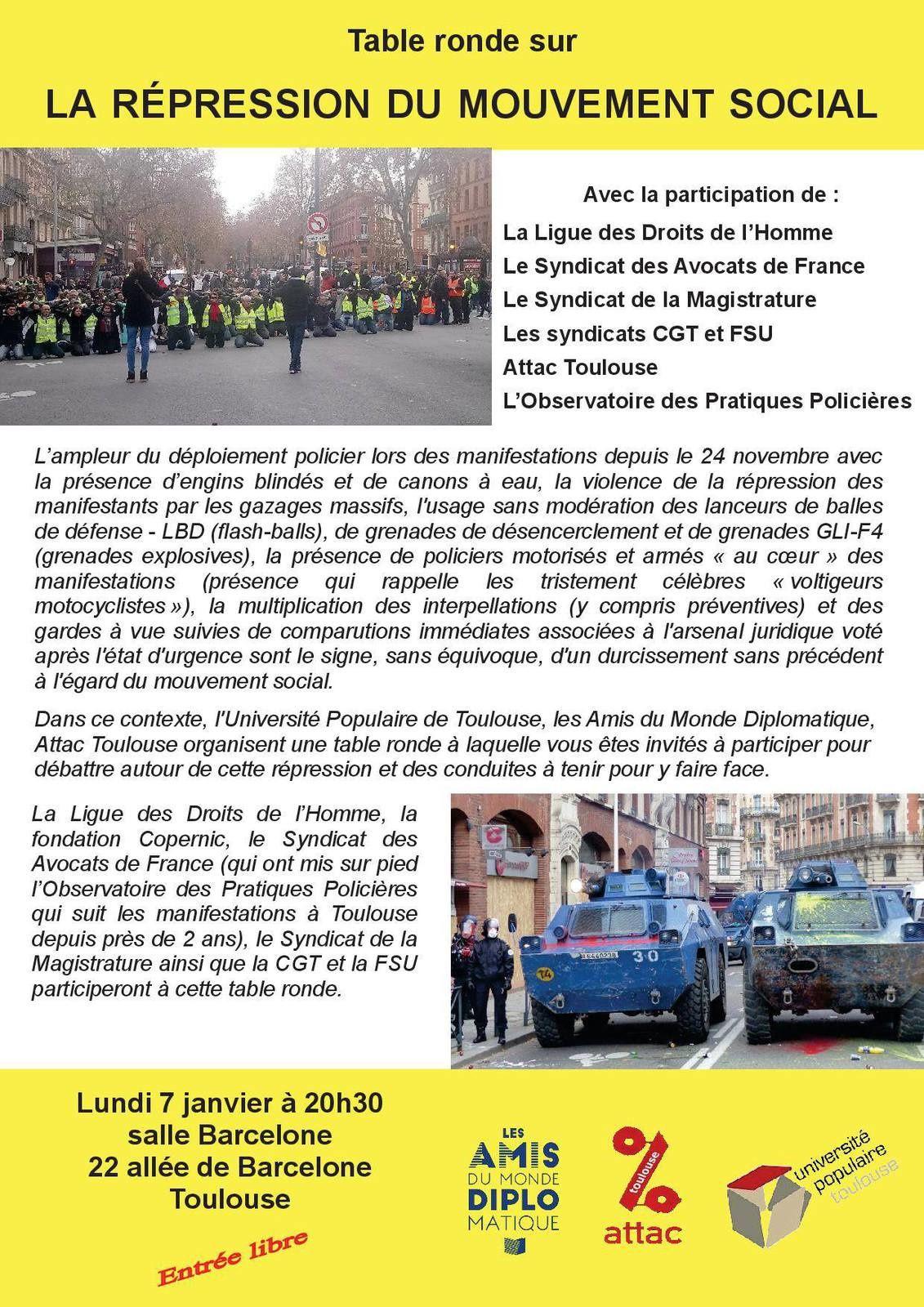 Lundi 7 janvier 2019 20h30 : Table ronde sur la répression du mouvement social