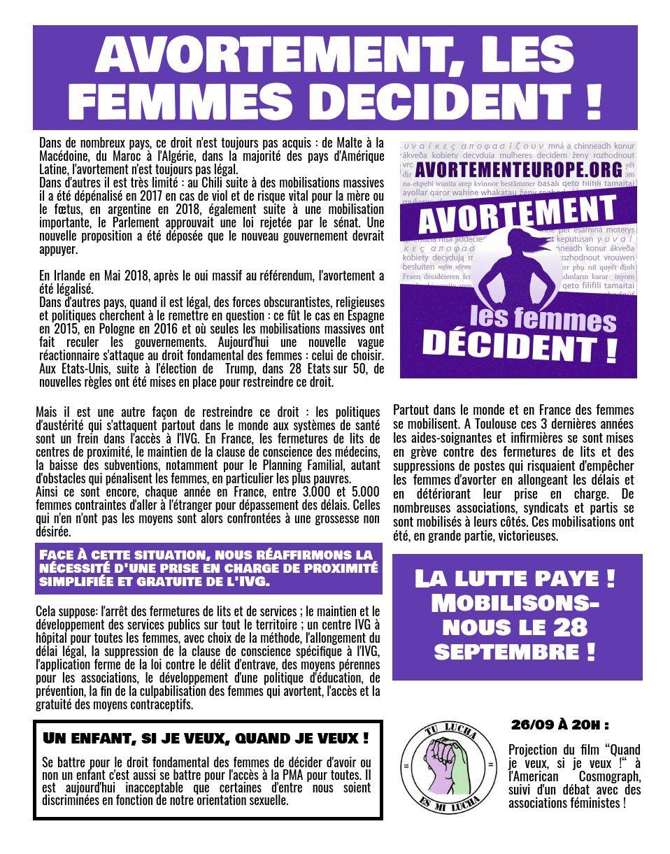 Avortement : les femmes décident ! Manifestation samedi 28 septembre 11h Arnaud Bernard