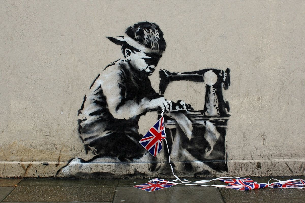 Banksy, Slave Labour, 2012 (made on the wall of a store in May 2012, just a few weeks before the opening of the London Summer Olympics)