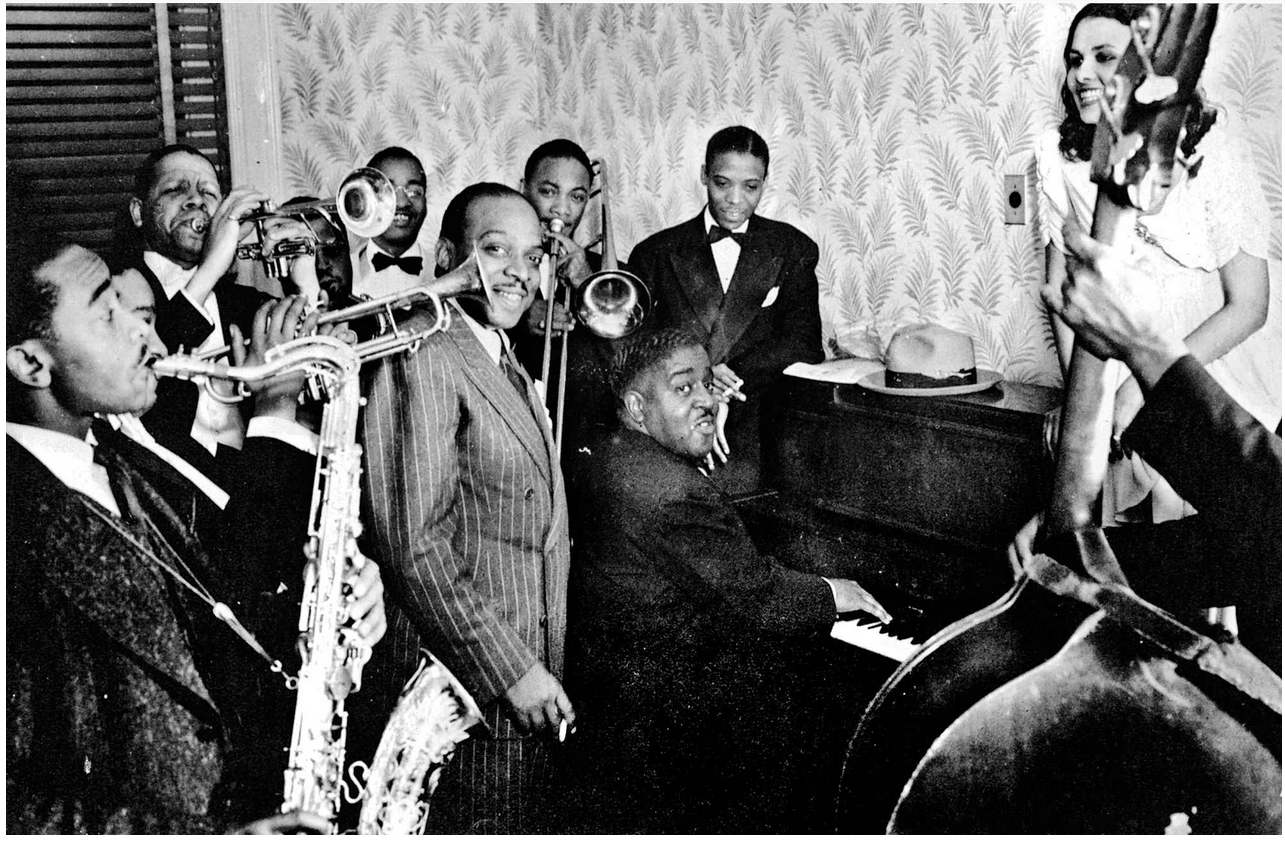 Count Basie and other American musicians in a jazz club in Harlem, 1938