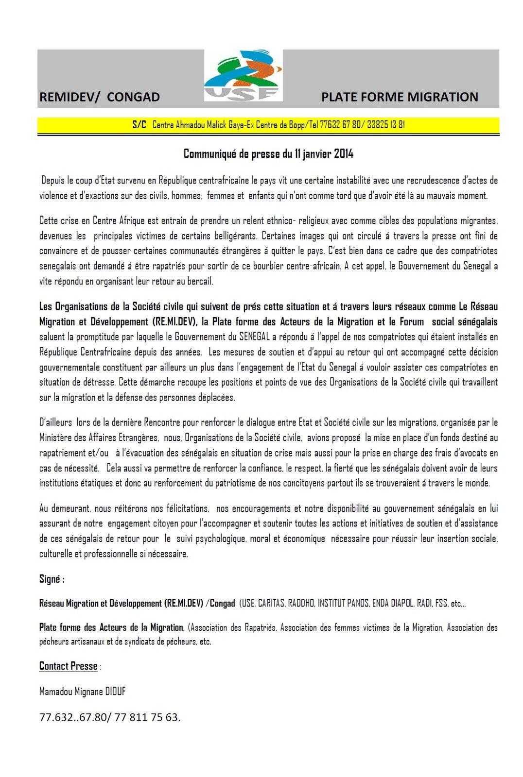 Crise en RCA: le REMIDEV salue le rappatriement des Sénégalais