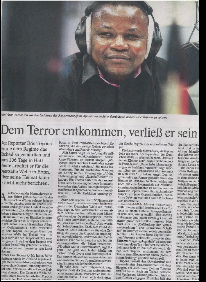 Le journaliste tchadien Eric Topona