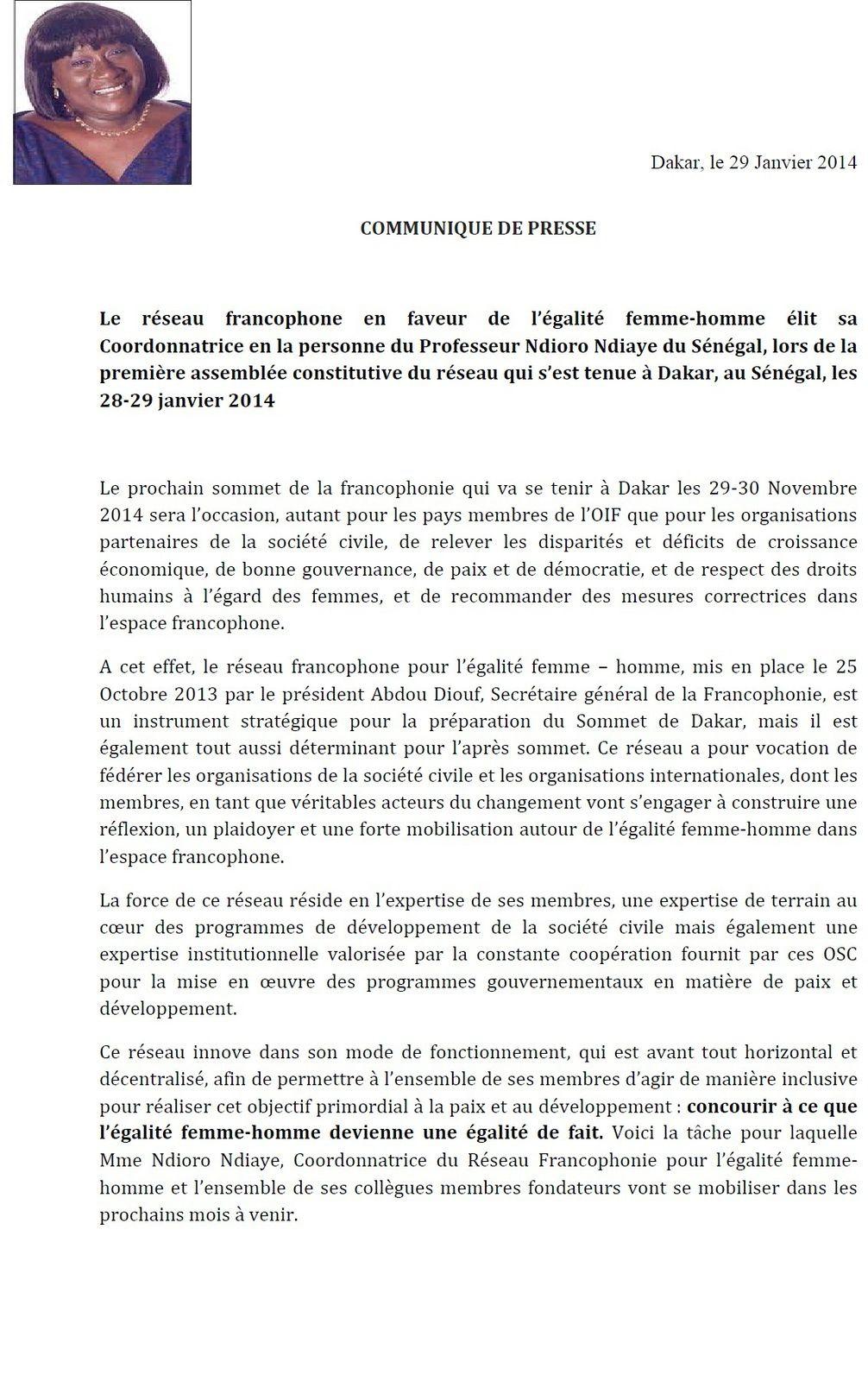 Réseau Francophone pour égalité Femme-Homme : Ndioro Ndiaye élue !