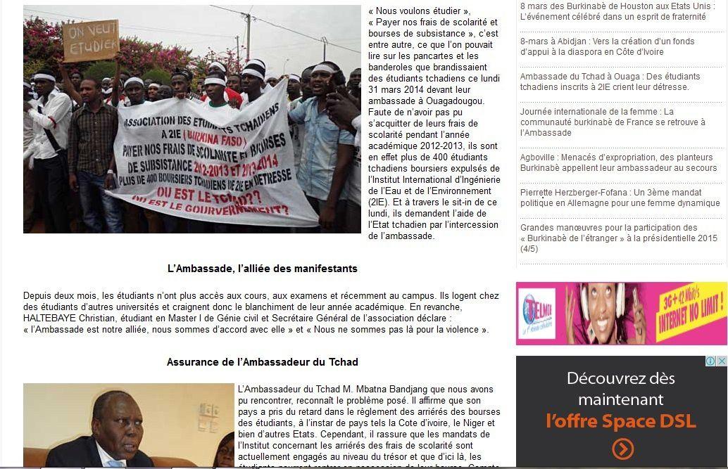 Burkina-Faso: l'Ambassadeur du Tchad donne raison aux étudiants dans leurs revendications