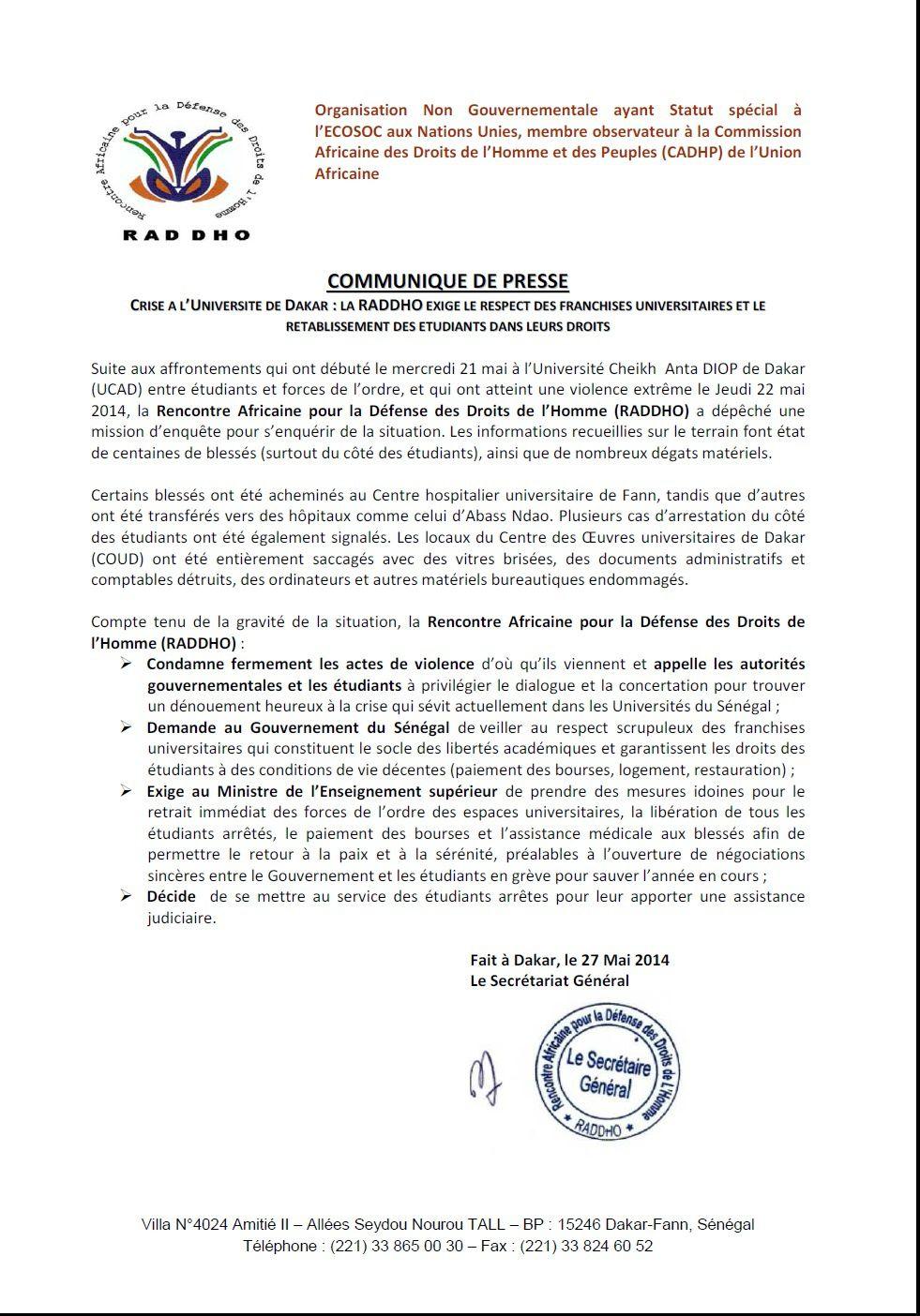 Sénégal: la RADDHO condamne les affrontements entre étudiants et forces de l'ordre