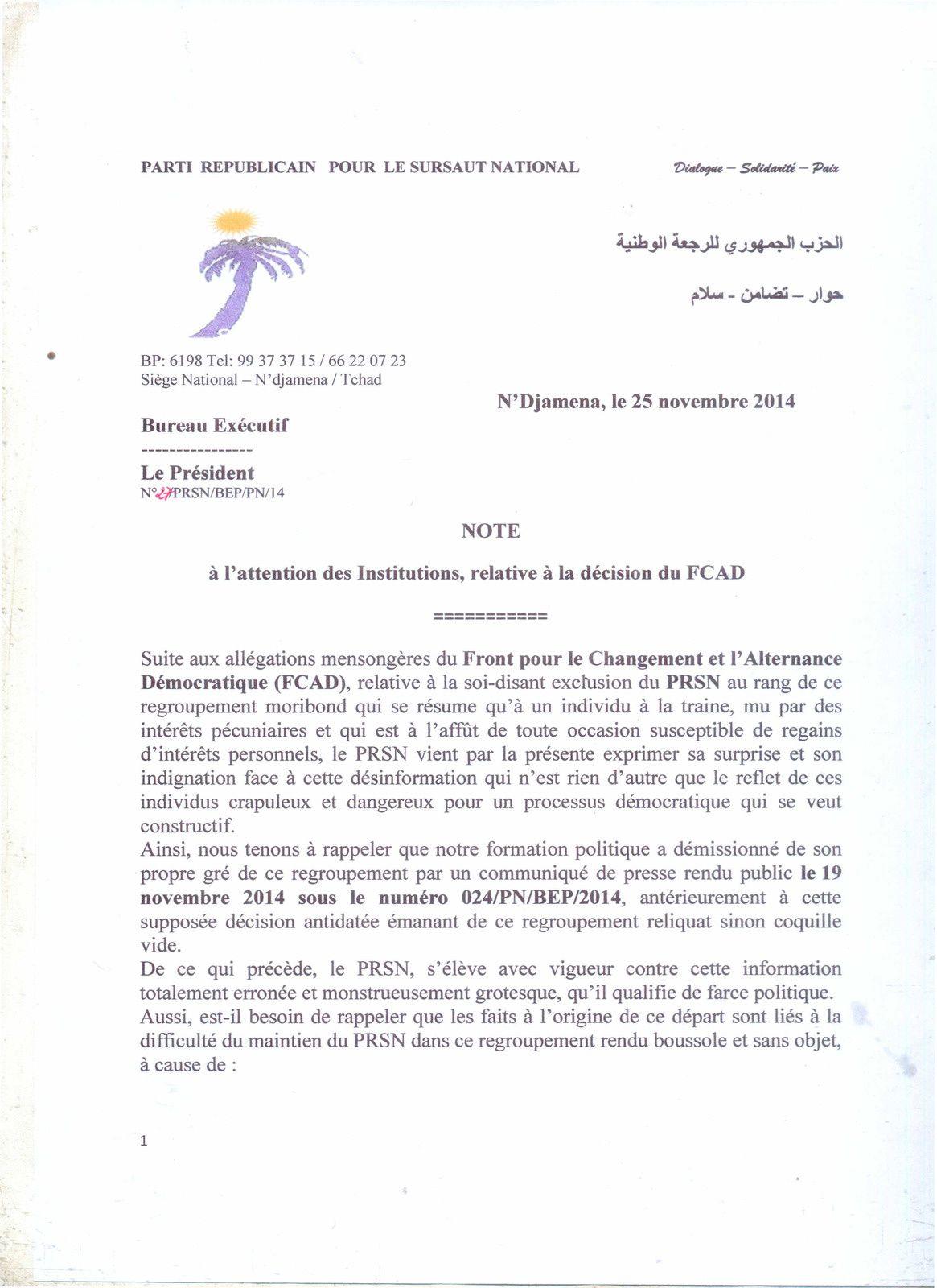 Droit de réponse à la décision du FACAD