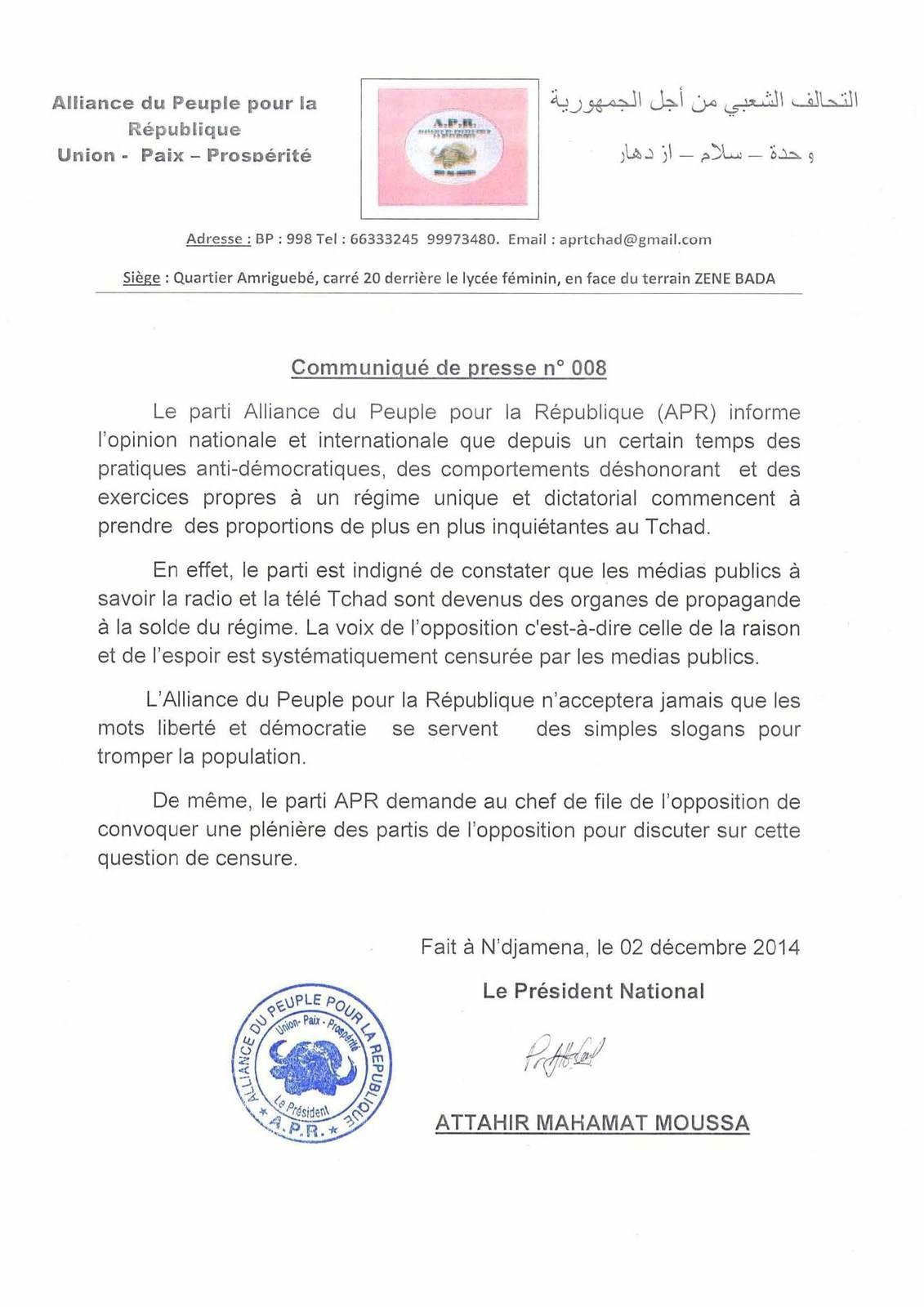 Tchad: le parti APR dénonce la propagande des médias publics
