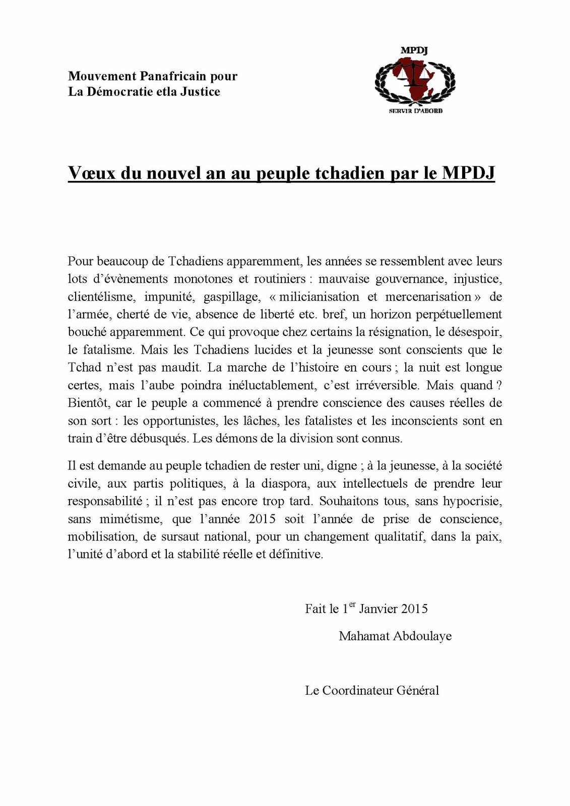 Vœux du nouvel an au peuple tchadien par le MPDJ