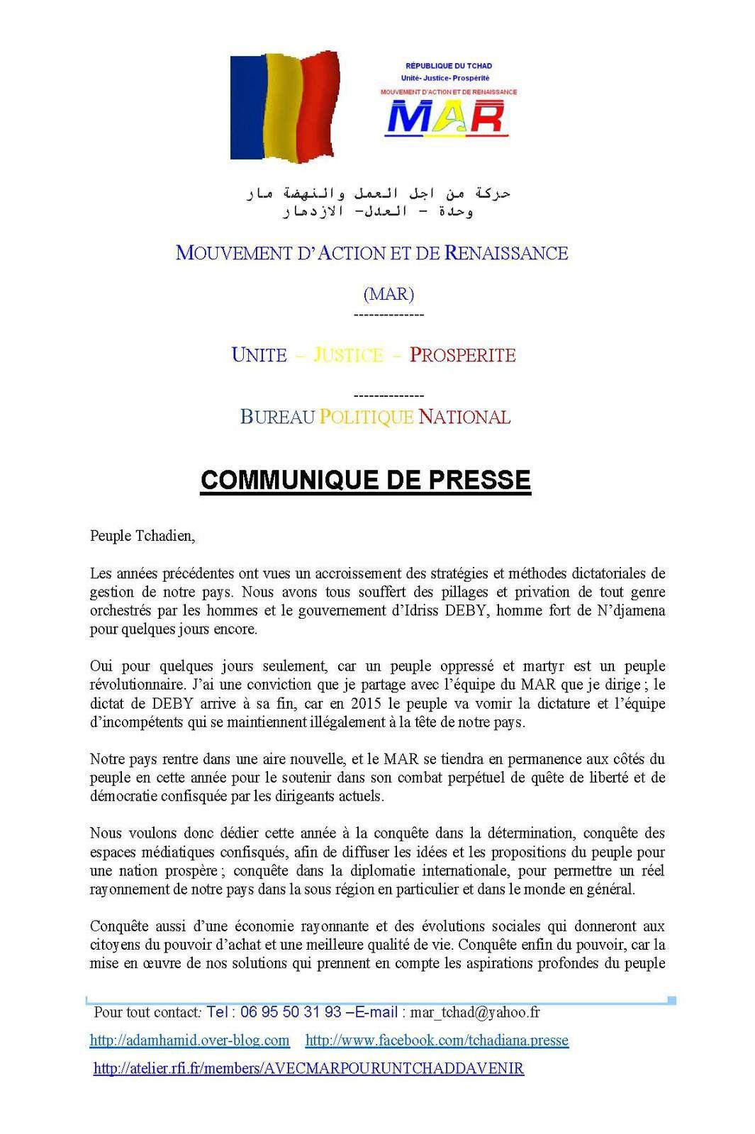 Voeux au peuple tchadien du Mouvement d'Action et de Reconnaissance (MAR)