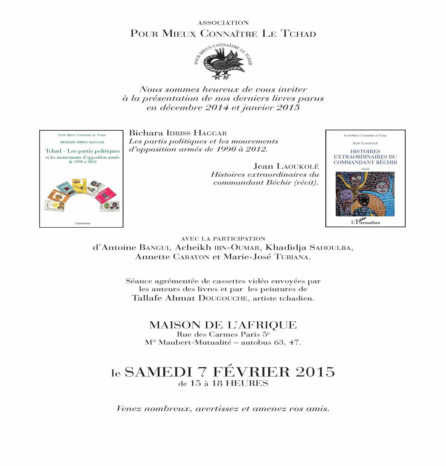 L'Association Pour Mieux Connaître Le Tchad présente les ouvrages du Dr Bichara Haggar et Jean Laoukolé