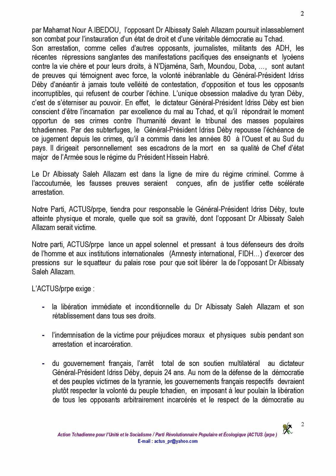 Tchad: l'ACTUS/prpe dénonce les tueries des manifestants pacifiques et incarcérations arbitraires d'opposants par le Général-Président Idriss Deby