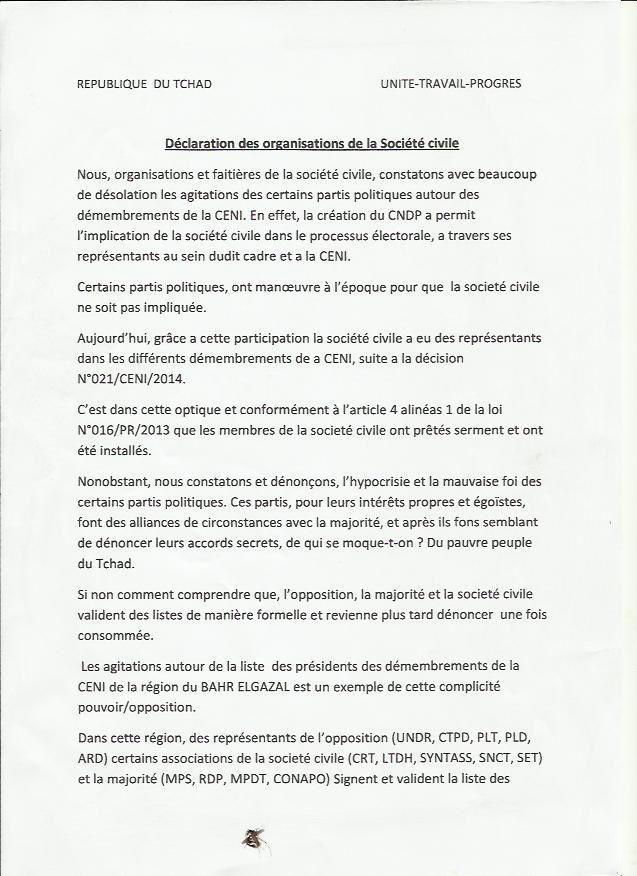 CENI: déclaration des organisations de la société civile du Tchad