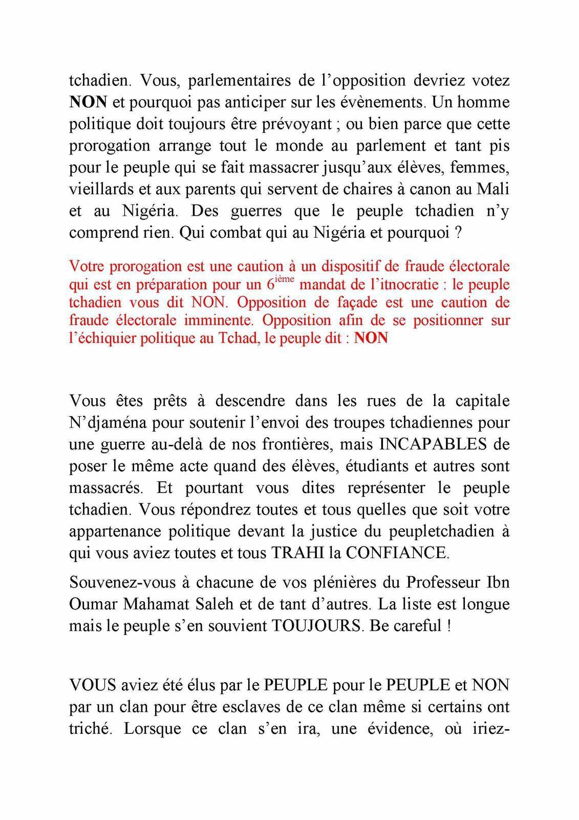 BOULIMIE  Viscérale  AU  TCHAD ; HONTE  PARLEMENTAIRE : LE PEUPLE  TRAHI  ENCORE  UNE  FOIS DE  PLUS  par  ses  élus ?
