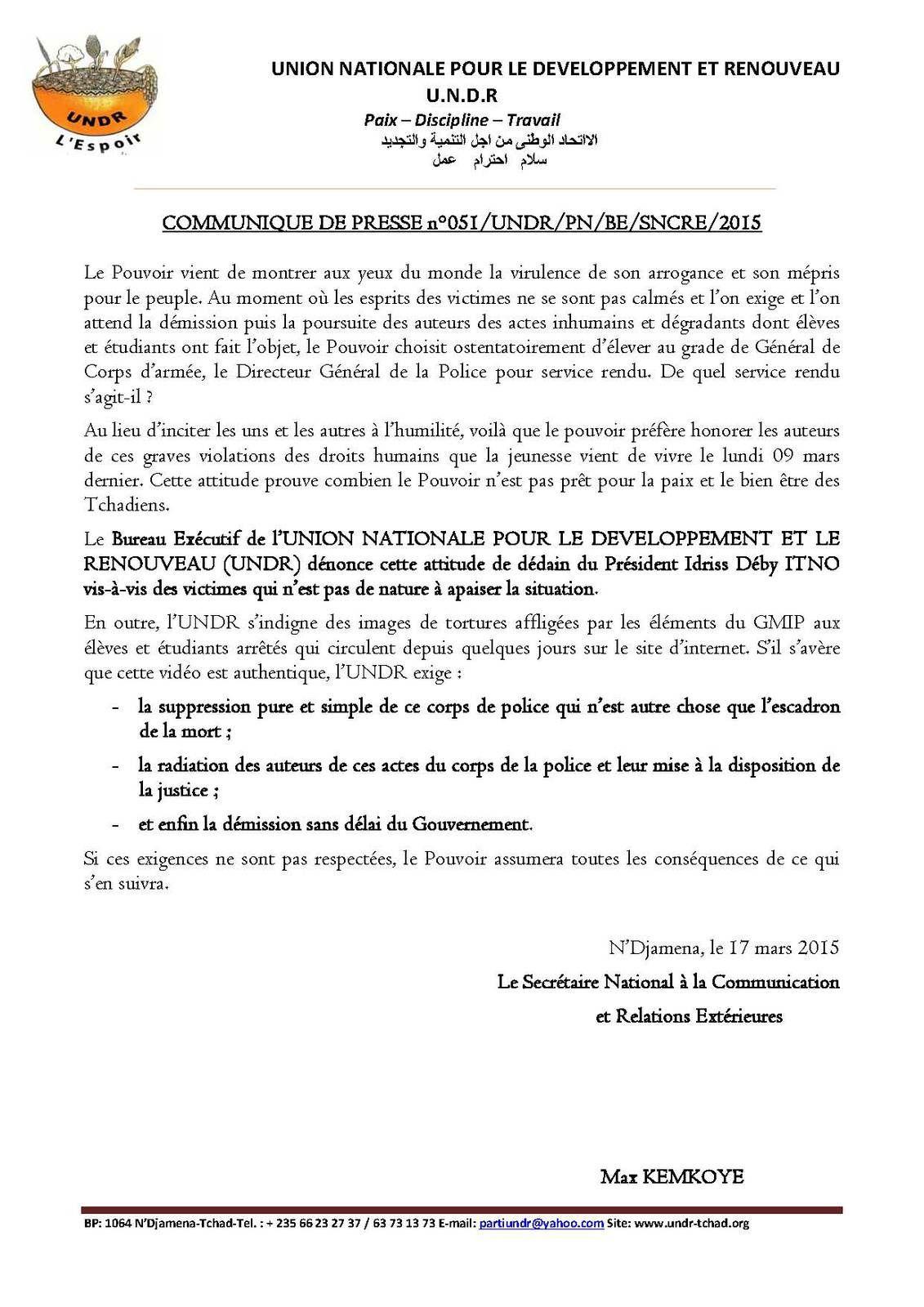 Tchad: l'UNDR dénonce cette attitude de dédain du Président Idriss Déby ITNO