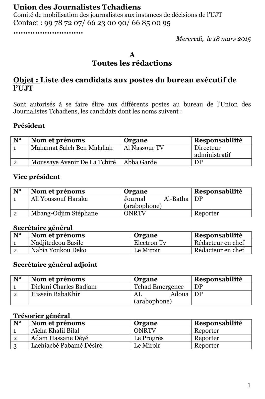 Liste des candidats aux postes du bureau exécutif de l'UJT