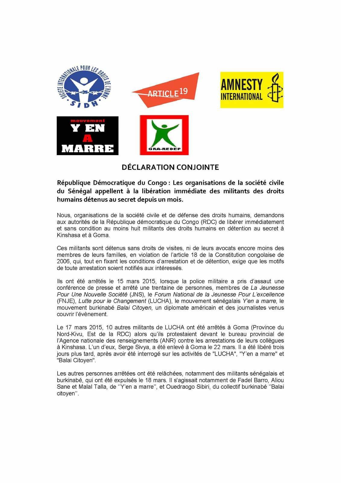 Des militants des droits humains détenus en RDC: les ONG appellent à Dakar à leur libération