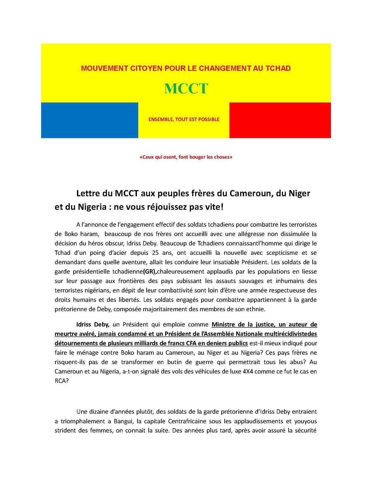 Intervention militaire du Tchad: le MCCT invite le Cameroun, le Niger et le Nigeria de ne pas se réjouir !