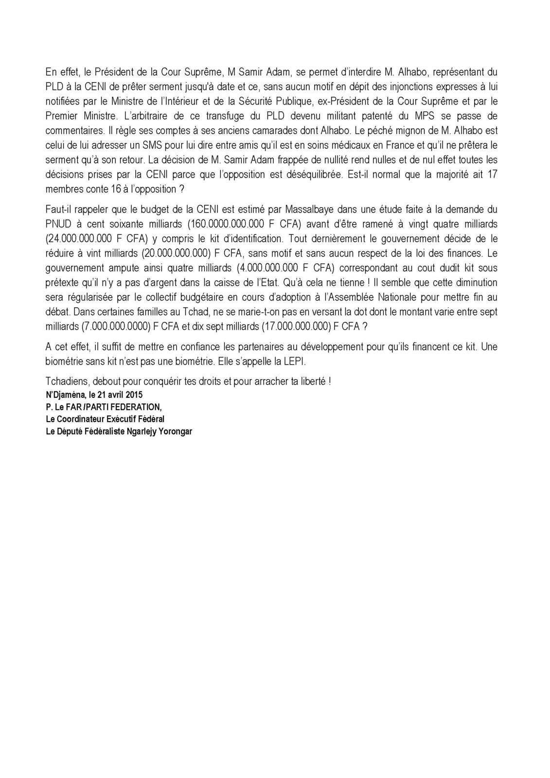 FAR.CENI/BIOMETRIE ET CHOIX DES OPERATEURS AU TCHAD