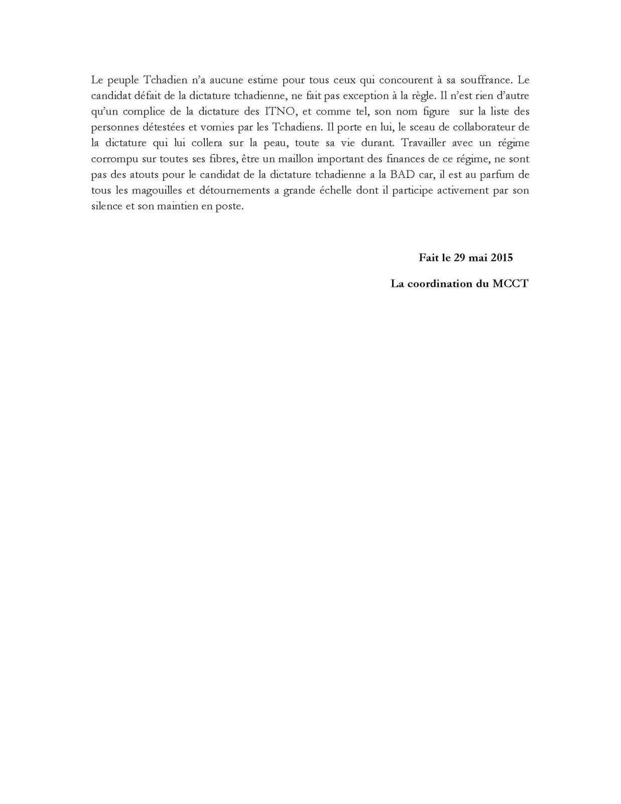 Fiasco historique et diplomatique du Tchad à la BAD: le MCCT se réjouit