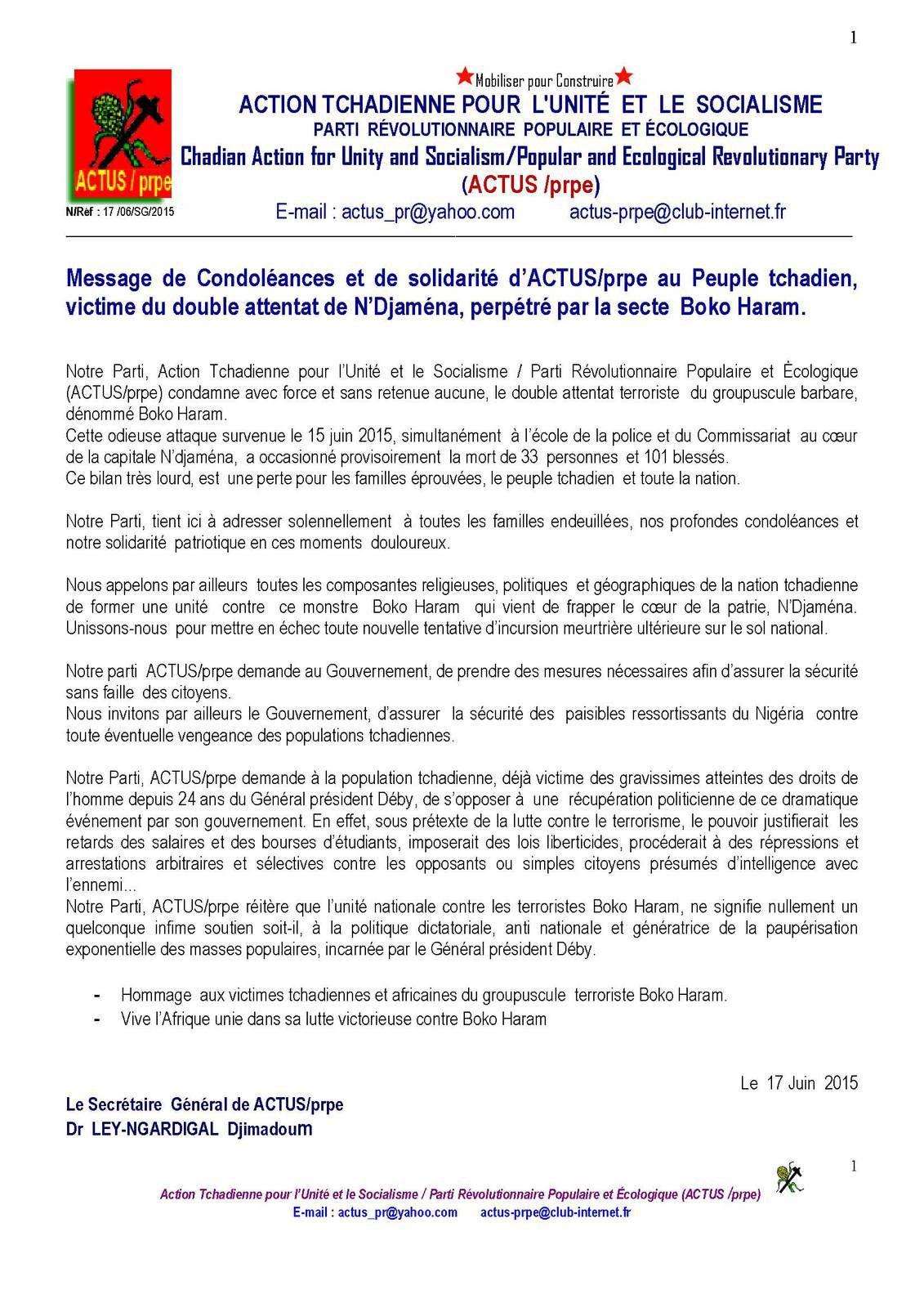 ACTUS/Prpe: message de condoléances au peuple tchadien victime des attentats