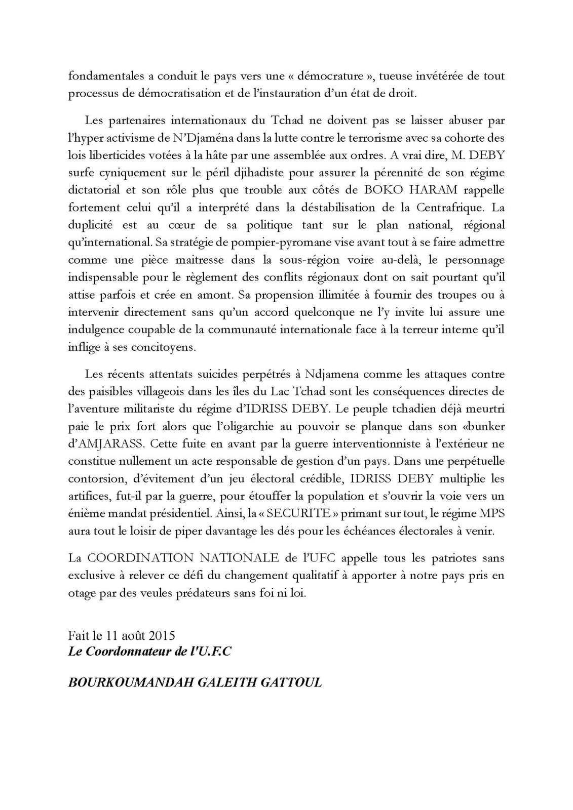 11 août 2015: l'UFC se prononce sur l'indépendance du Tchad