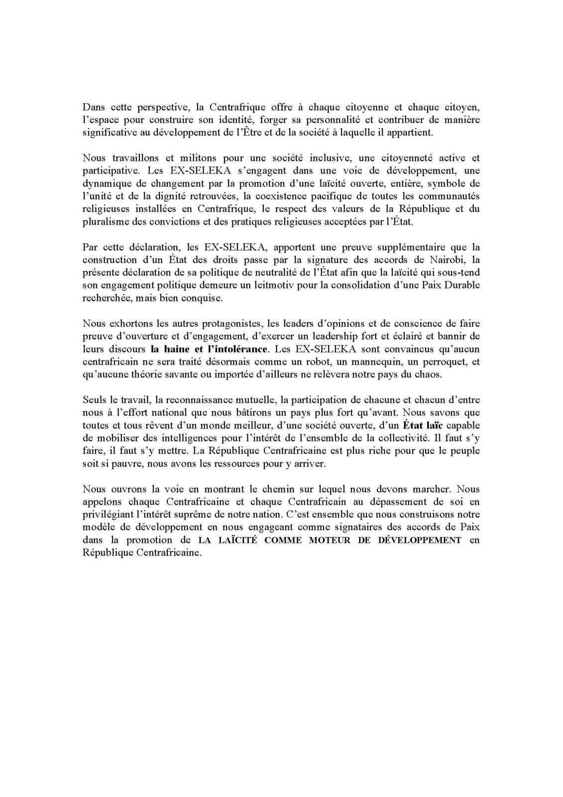 LA LAÏCITÉ : MOTEUR DE DÉVELOPPEMENT DE LA RÉPUBLIQUE CENTRAFRIQUE (RCA)
