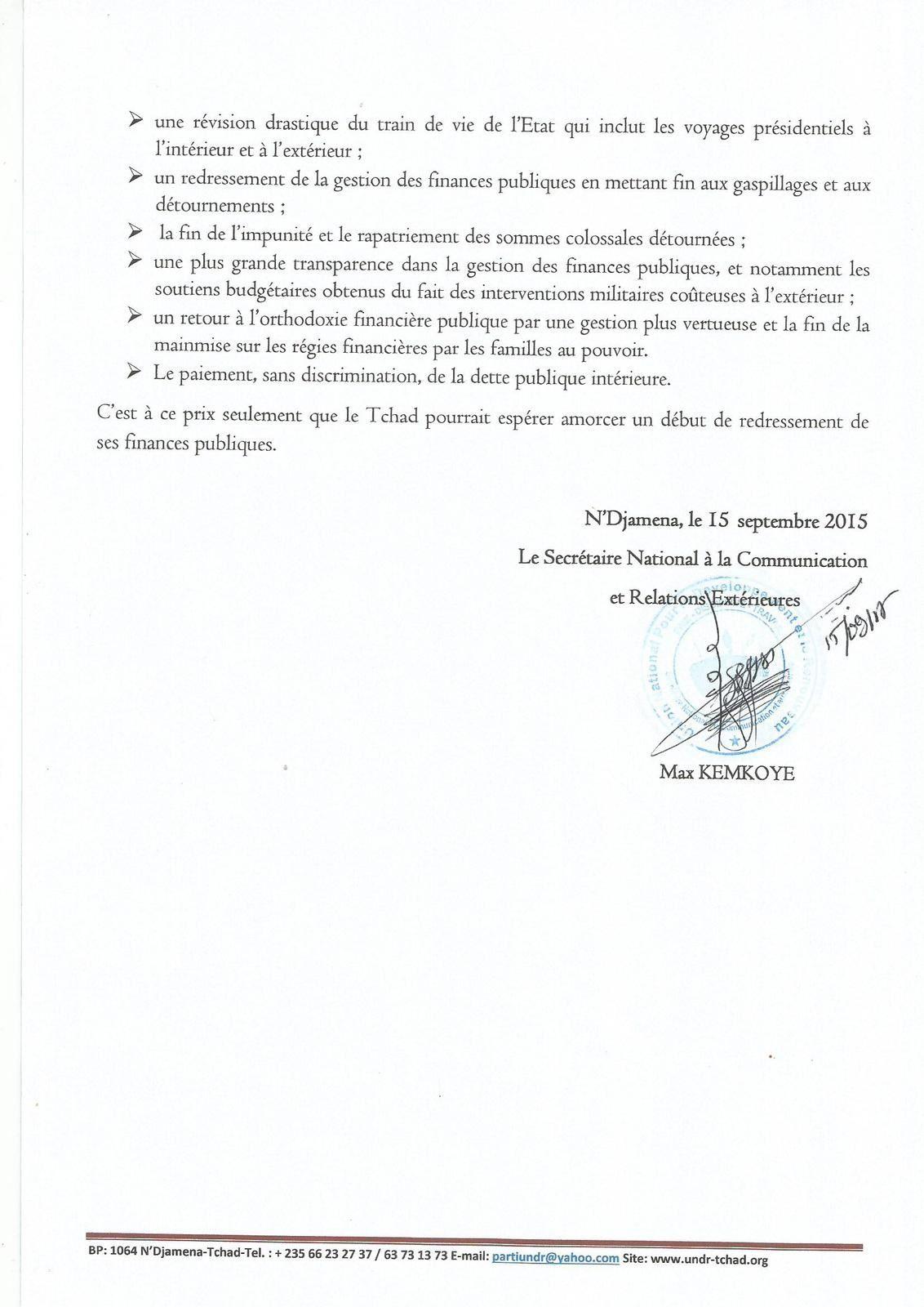 Atteintes aux droits sociaux au Tchad: L'UNDR interpelle le Gouvernement