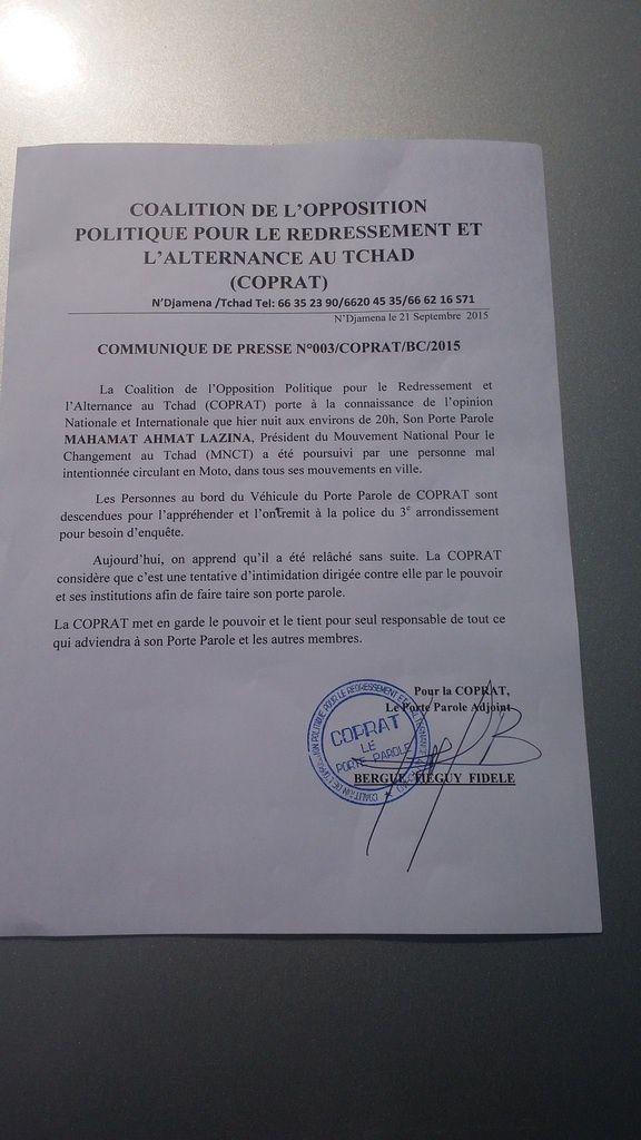 Tentative d'intimidation de M.Mahamat Ahmat Lazina, la COPRAT accuse le pouvoir d'Idriss Deby