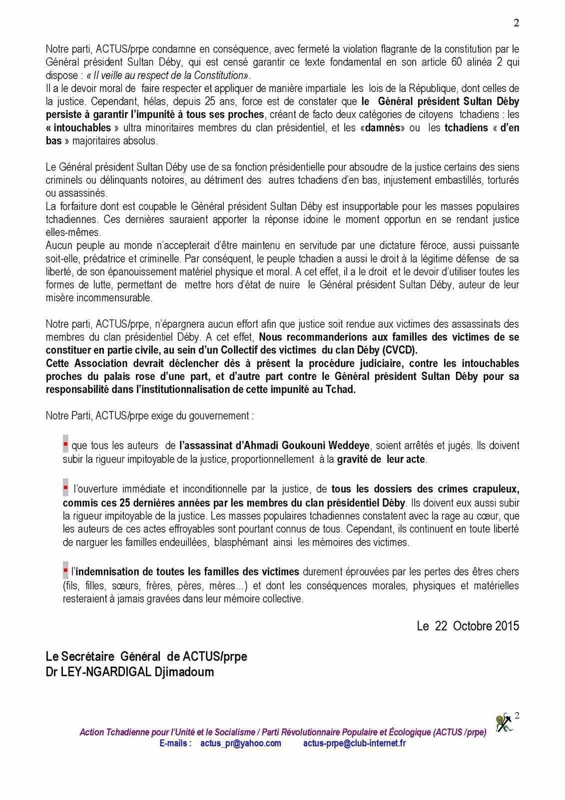 Tchad: ACTUS/PRPE s'insurge contre les victimes du clan Deby