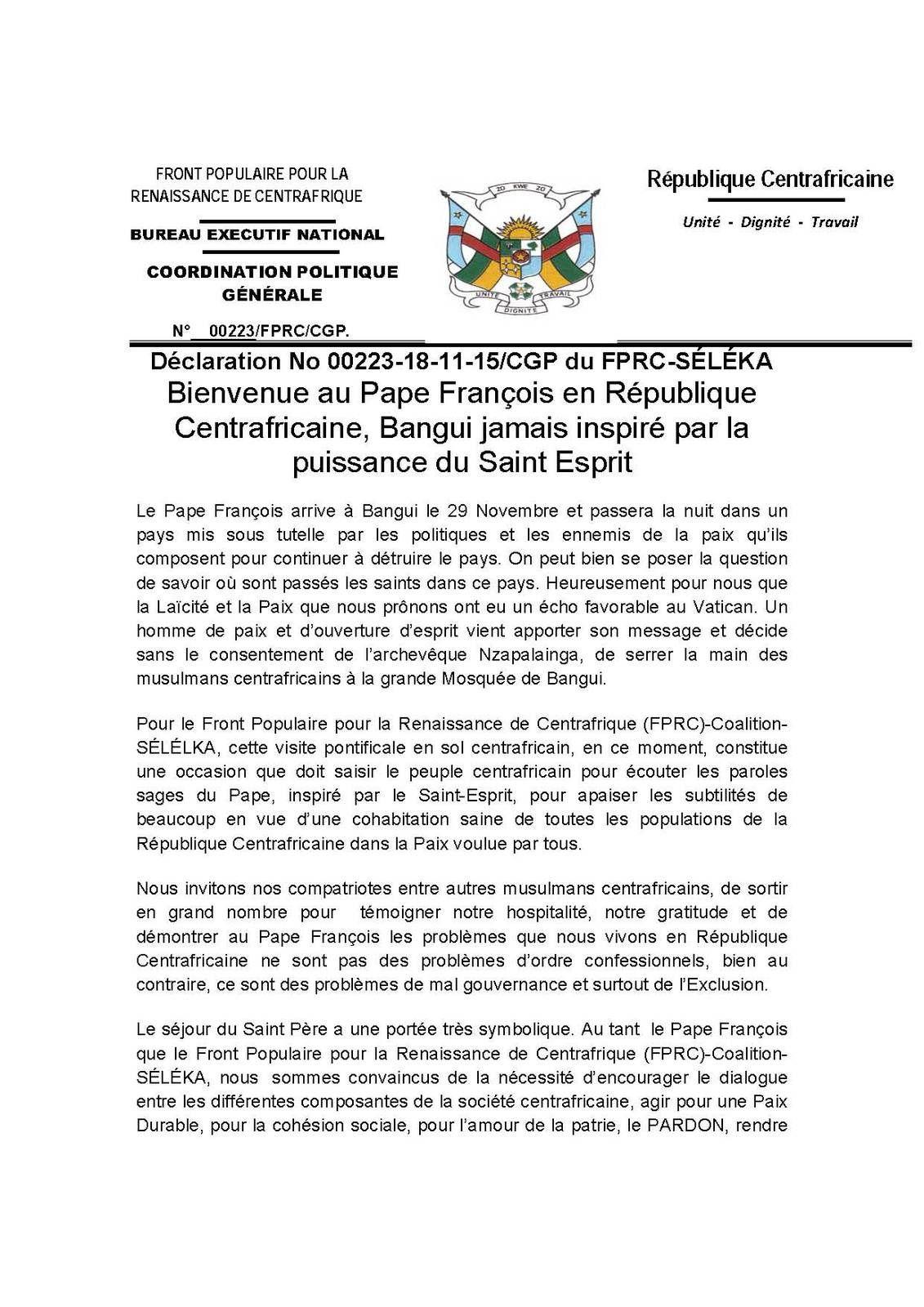 Bienvenue au Pape François en République Centrafricaine, Bangui jamais inspiré par la puissance du Saint Esprit