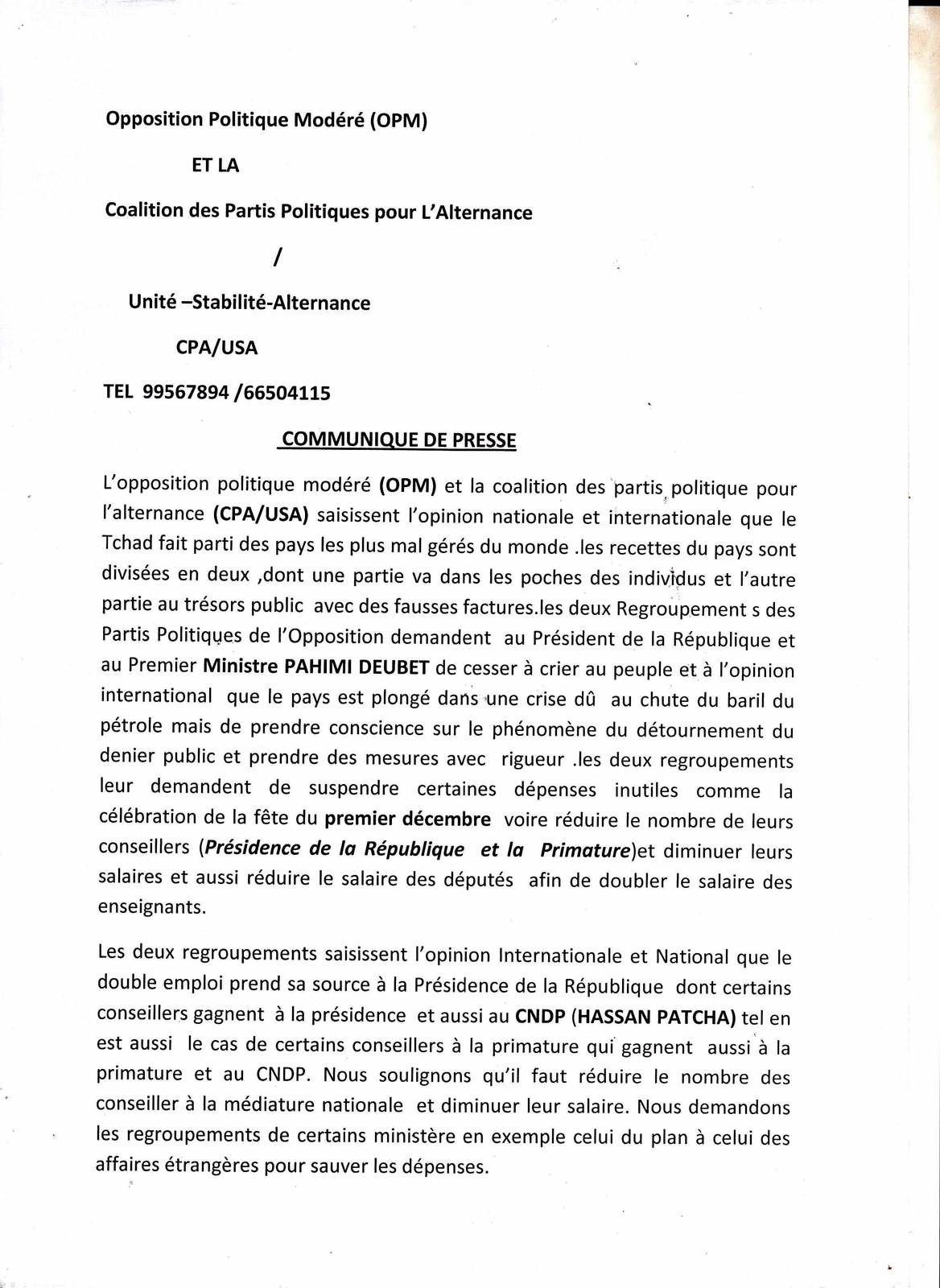 Tchad: la coalition d'opposition demande à Idriss Deby et au Premier ministre de cesser de tromper la communauté internationale
