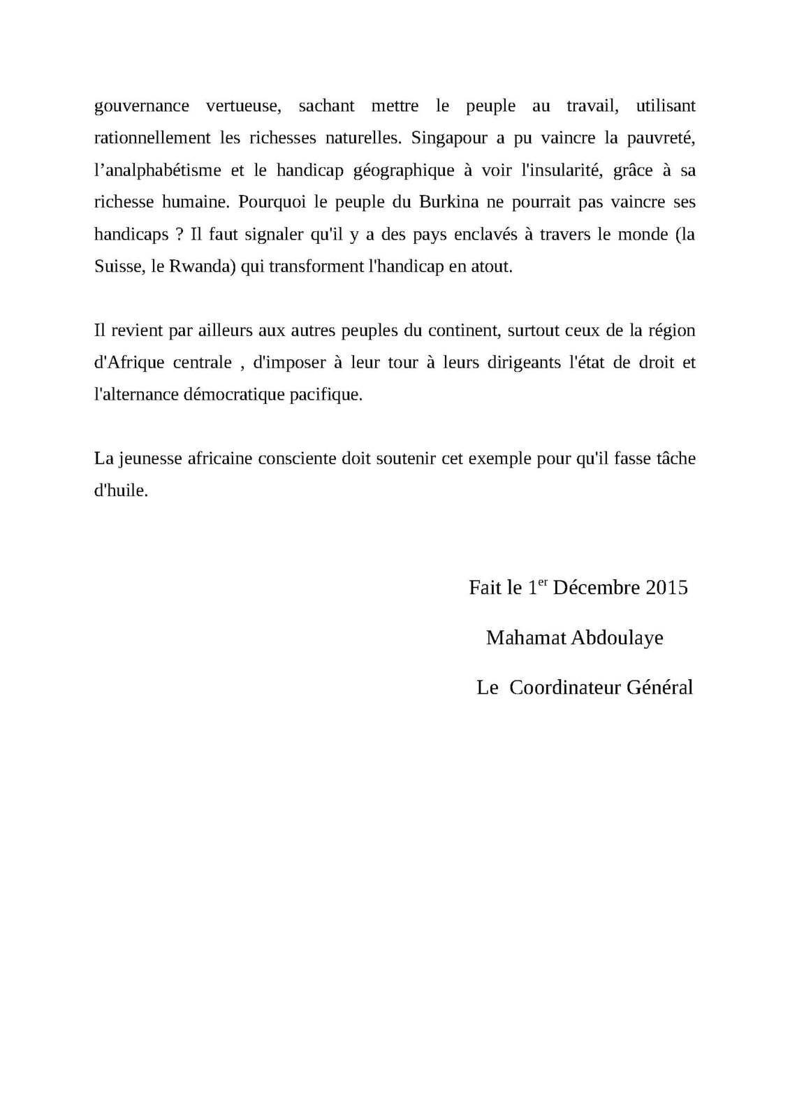 Le MPDJ salue la maturité politique du peuple burkinabé