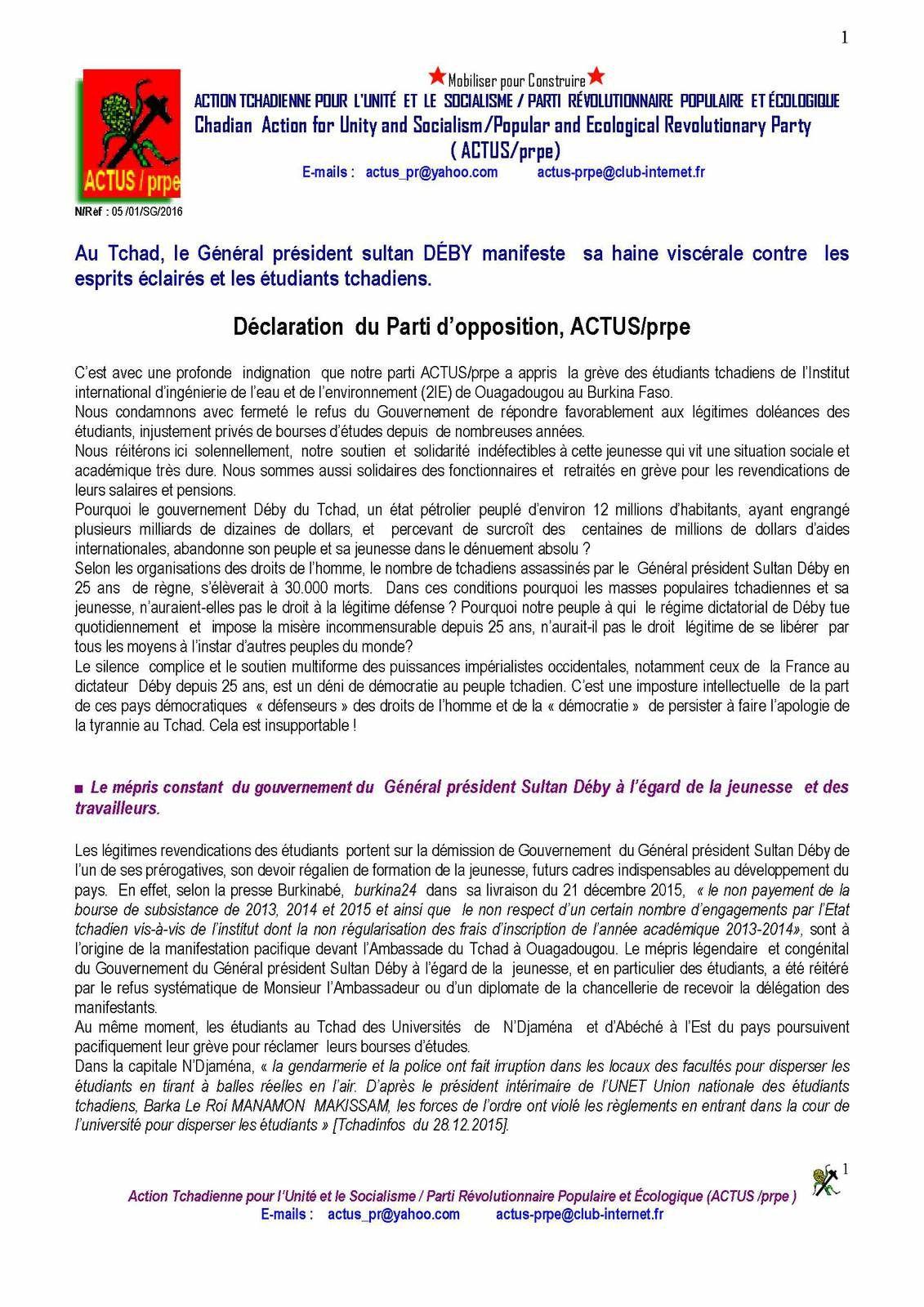 Tchad: l'ACTUS/prpe révolte contre la situation imposée aux étudiants tchadiens du Burkina