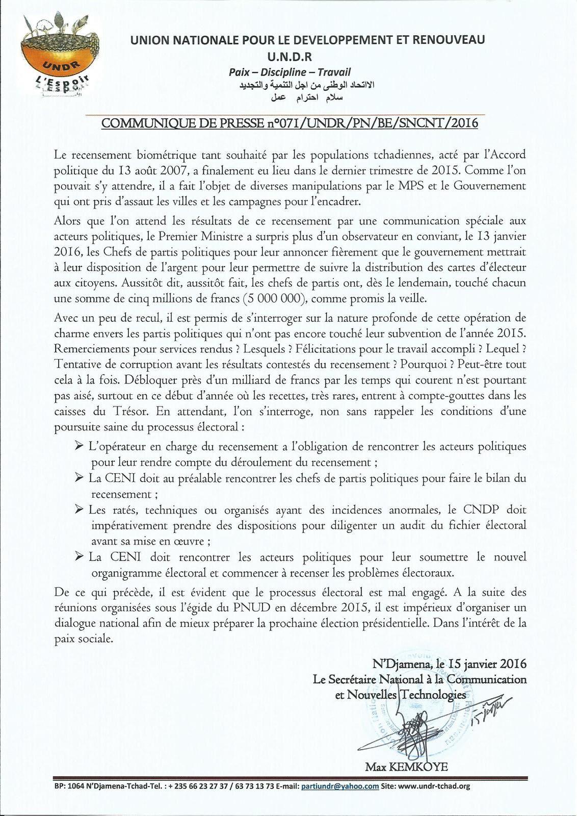 Processus électoral mal engagé au Tchad: l'UNDR accuse le PM