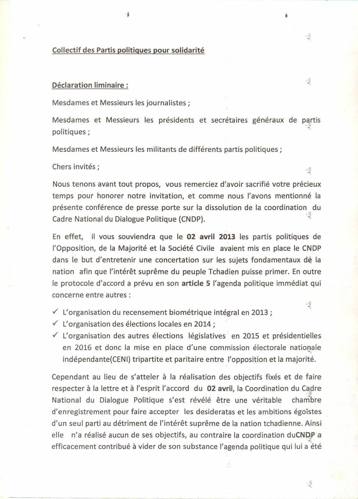 Tchad: le collectif des partis politiques pour la solidarité exige la dissolution du CNDP