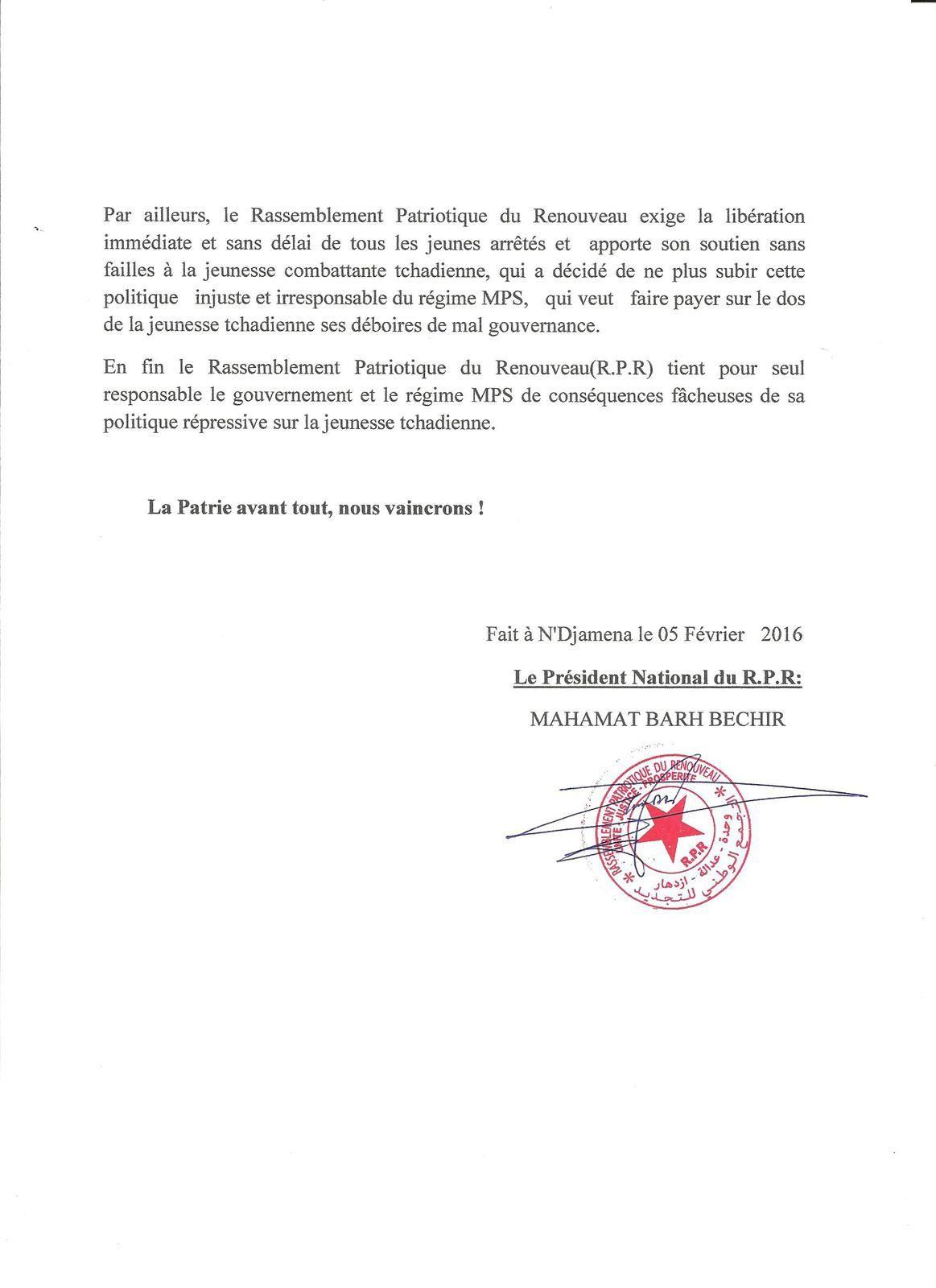 Politique répressive du régime au Tchad: le RPR tient pour responsable le Gouvernement