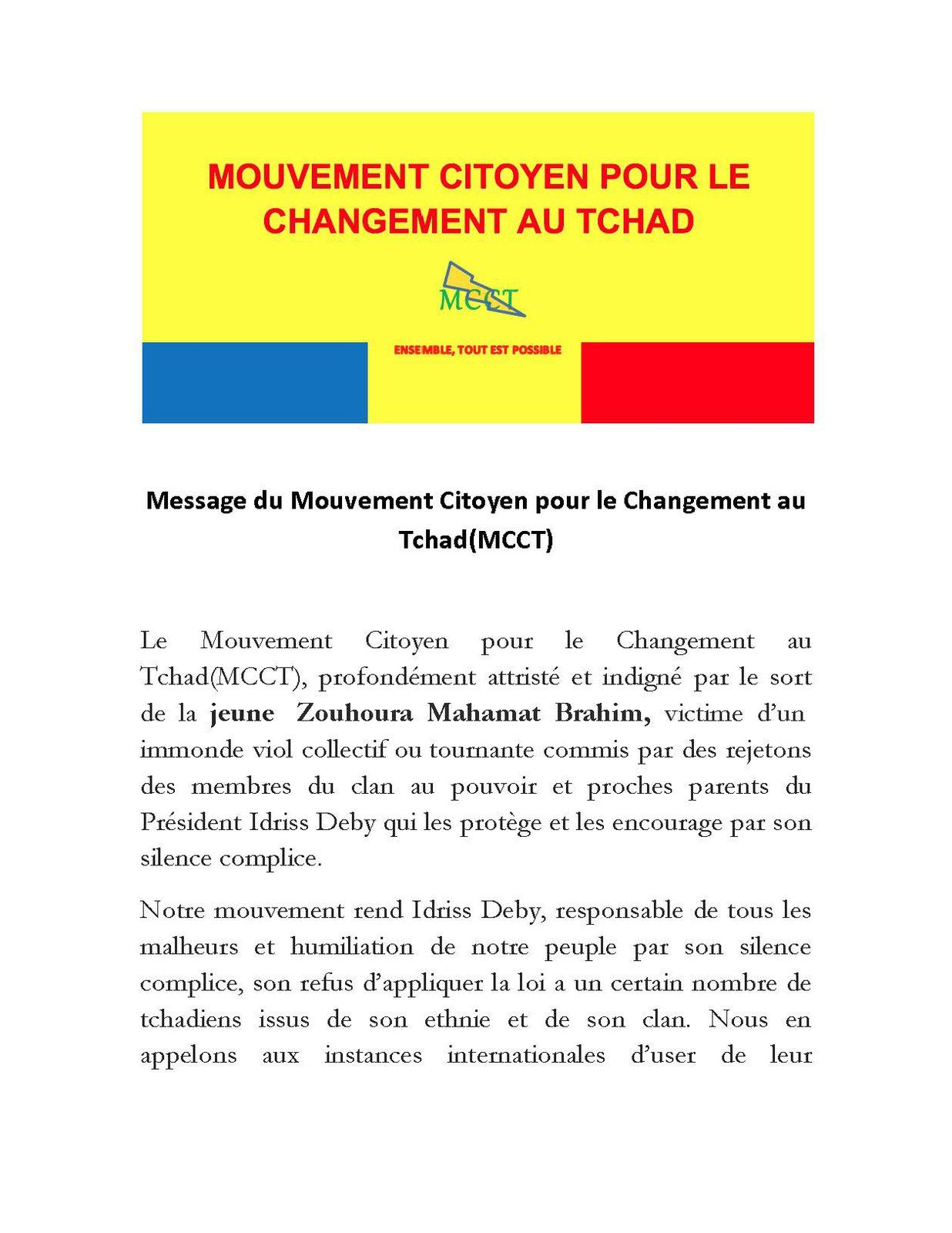 Viol de Zouhoura Mahamat Brahim au Tchad: le MCCT indigné