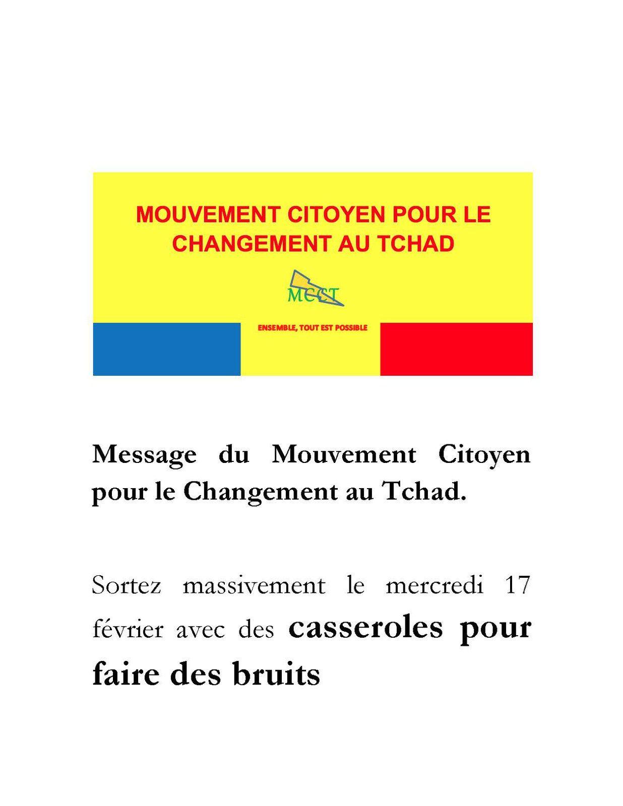 Tchad:le MCCT lance appel le peuple à sortir en masse ce mercredi
