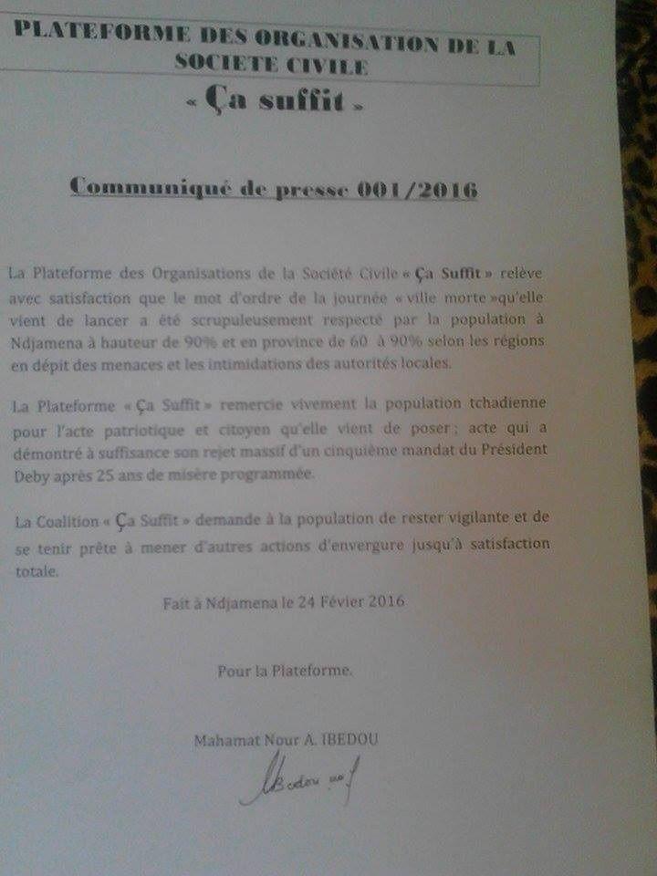 Ville morte au Tchad: satisfaction générale de la plateforme de la société civile