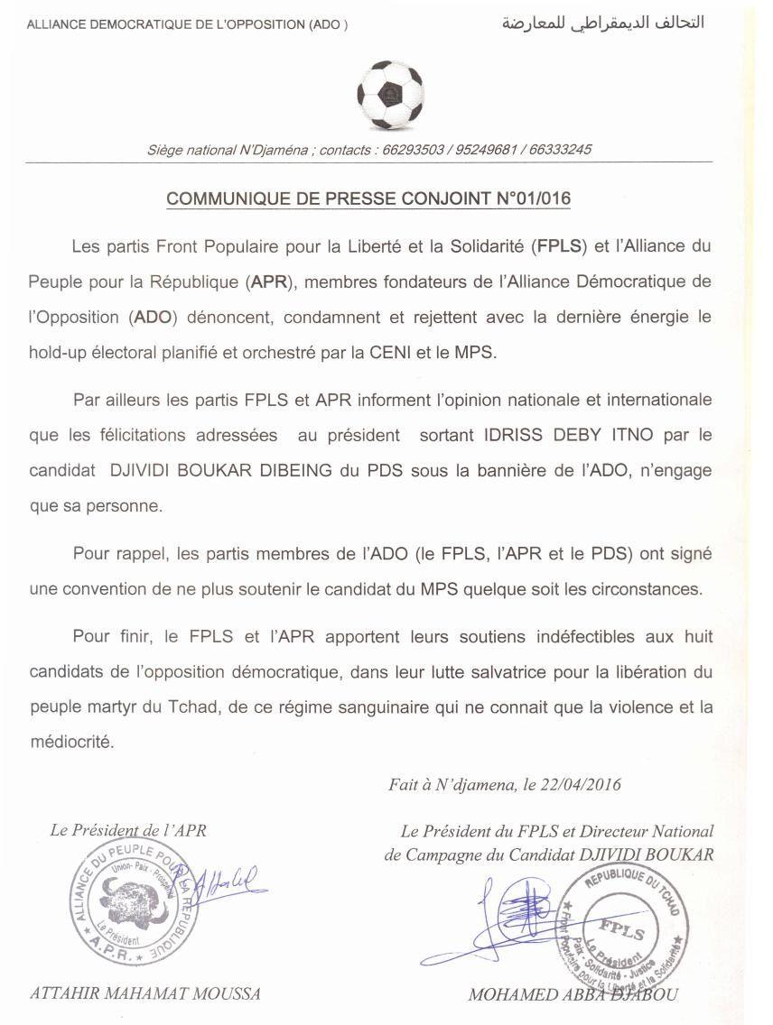 Tchad: l'ADO désavoue Dividji Boukar et ne reconnait pas Deby comme président