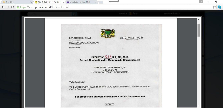 Composition du Nouveau gouvernement au Tchad