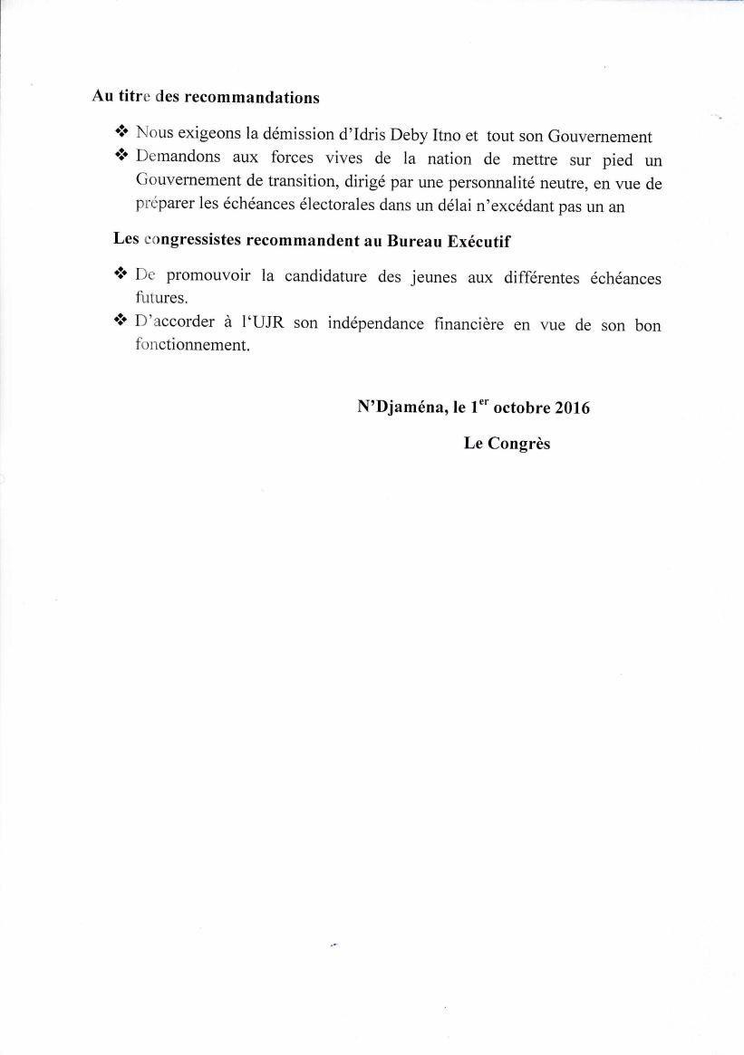 Tchad: la démission d'Idriss Deby réclamée au congrès de l'UJR (Résolution)