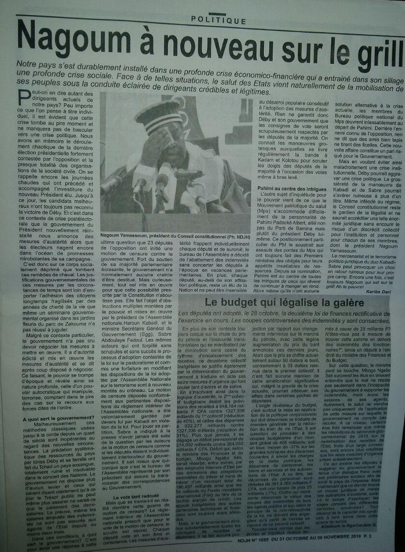 Tchad: Nagoum face à la magouille de Kabadi et Sabre
