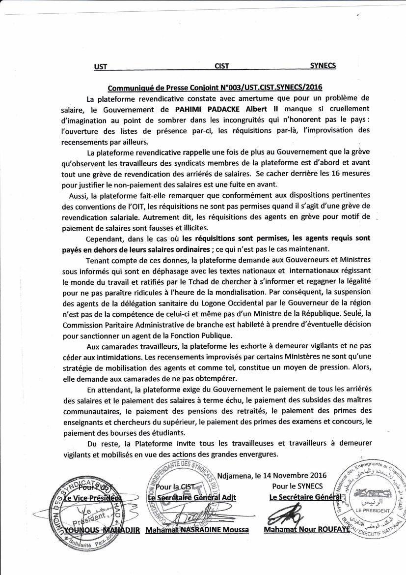 Tchad: une coalition syndicale  annonce des actions des grandes envergures dans les prochains jours