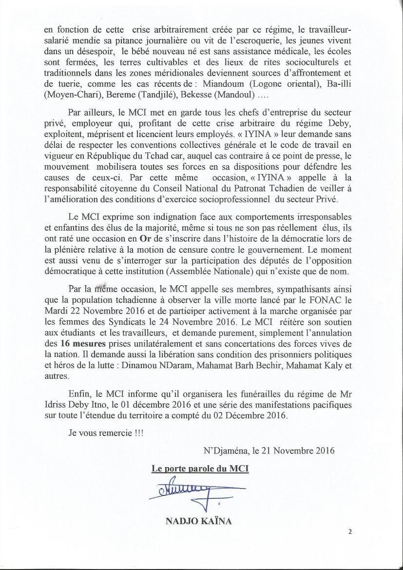 Tchad: le Mouvement Citoyen Iyina annonce les funérailles du régime d'Idriss Deby