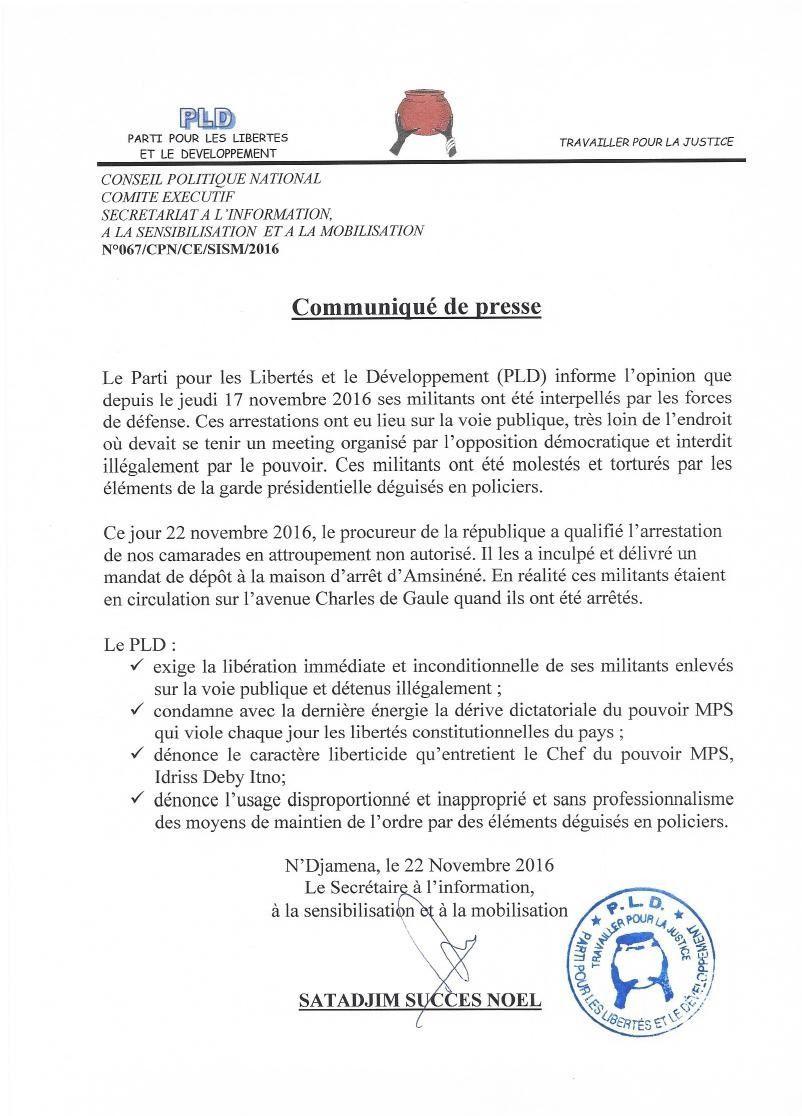 Le PLD dénonce les pratiques liberticides au Tchad et exige la libération des militants détenus illégalement